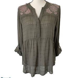 Style & Co Olive Green Embroidered Floral Boho Top